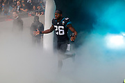 Jacksonville Jaguars Defensive Back Jarrod Wilson (26) introduction during the International Series match between Jacksonville Jaguars and Houston Texans at Wembley Stadium, London, England on 3 November 2019.