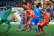 Shrewsbury Town defender Luke Waterfall (22) clears this cross during the EFL Sky Bet League 1 match between Peterborough United and Shrewsbury Town at London Road, Peterborough, England on 23 February 2019.