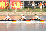 Beijing, CHINA, GER JW4X, gold medallist, approaching and crossing the finishing line, Claudia SCHIWY, Clara KARCHES, Mereike ADAMS and Rebekka KLEMP,   at  the  2007. FISA Junior World Rowing Championships,  Shunyi Water Sports Complex. 11/08/2007 [Photo, Peter Spurrier/Intersport-images]..... , Rowing Course, Shun Yi Water Complex, Beijing, CHINA,