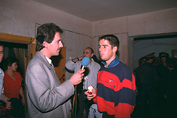 VLADIKAVKAZ, RUSSIA - Tuesday, September 12, 1995: Liverpool's match-winner Jamie Redknapp is interviewed after a 2-1 victory over FC Alania Spartak Vladikavkaz during the UEFA Cup 1st Round 1st Leg match at Republican Spartak Stadium. (Photo by David Rawcliffe/Propaganda)