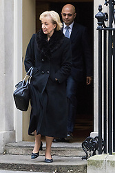 Downing Street, London, January 10th 2017. Environment, food and Rural Affairs Secretary Andrea Leadsom and Communities and Local Government Secretary Sajid Javid leave the weekly UK cabinet meeting at 10 Downing Street as the new Parliamentary term begins.