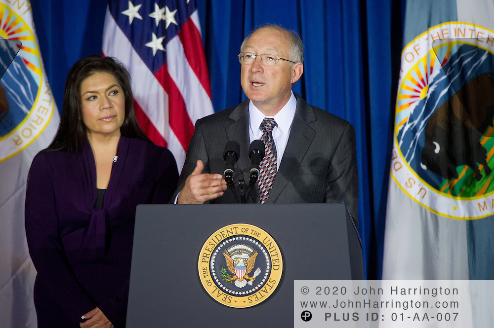 Secretary of the Department of the Interior, Ken Salazar, addresses the leaders of the 565 federally recognized Native American tribes at the 2011 White House Tribal Nations Conference hosted by President Barack Obama. The 2011 White House Tribal Nations Conference was held at the U.S. Department of the Interior in Washington, DC on December 2nd, 2011.