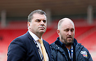 Australia manager Ange Postecoglou (l) prior to the International Friendly match at the Stadium Of Light, Sunderland<br /> Picture by Simon Moore/Focus Images Ltd 07807 671782<br /> 27/05/2016