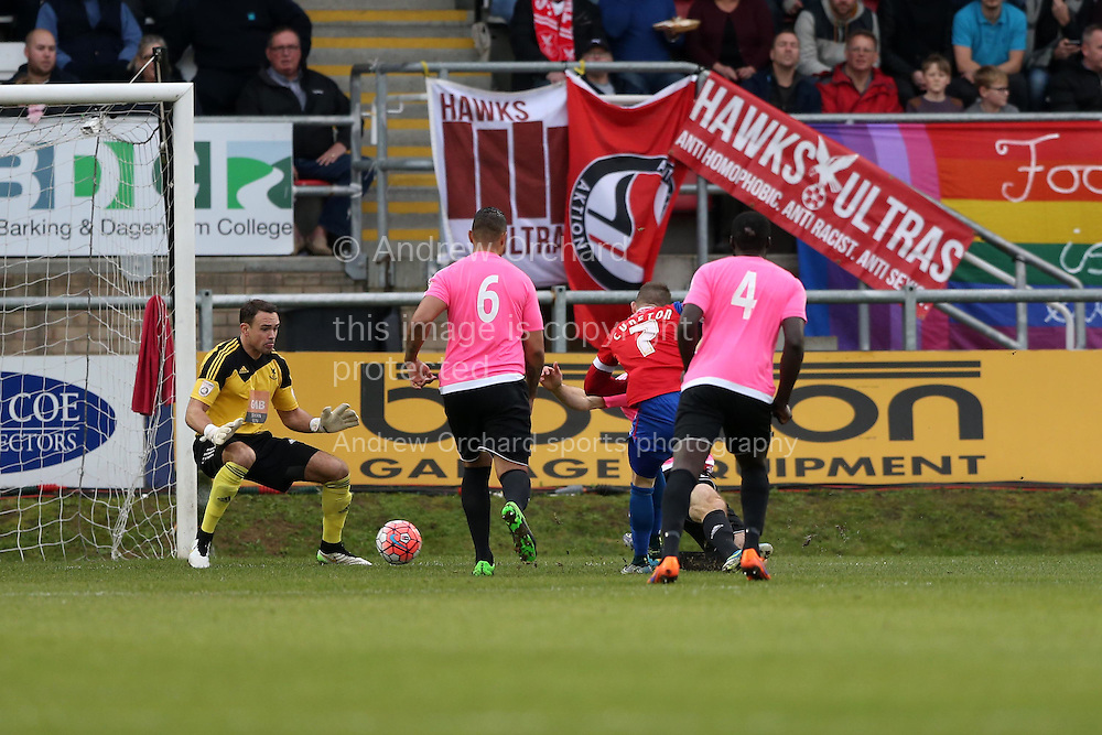 Jamie Cureton of Dagenham &amp; Redbridge shoots and scores his sides 1st goal of the match. The Emirates FA Cup, 2nd round match, Dagenham &amp; Redbridge v Whitehawk FC at the The London Borough of Barking &amp; Dagenham Stadium in London on Sunday 6th December 2015.<br /> pic by John Patrick Fletcher, Andrew Orchard sports photography.