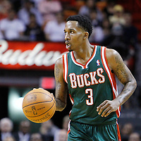 22 January 2012: Milwaukee Bucks point guard Brandon Jennings (3) brings the ball up court during the Milwaukee Bucks 91-82 victory over the Miami Heat at the AmericanAirlines Arena, Miami, Florida, USA.