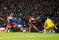 Football - 2019 / 2020 UEFA Europa League - Round of Thirty-Two, First Leg: Rangers vs. Sporting Braga<br /> <br /> Joe Aribo of Rangers scores the equalizer to make it 2-2, at Ibrox Stadium.<br /> <br /> COLORSPORT/BRUCE WHITE