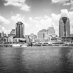 Cincinnati skyline photo in black and white. Picture includes downtown city office buildings with Great American Ballpark, Great American Insurance Group Tower, PNC Tower building, Omnicare building, US Bank building, Carew Tower building, and Scripps Center building. Photo was taken in July 2012.