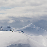 Jökull Bergmann overlooking future ski descents in Hvalvatnsfjörður, Iceland.