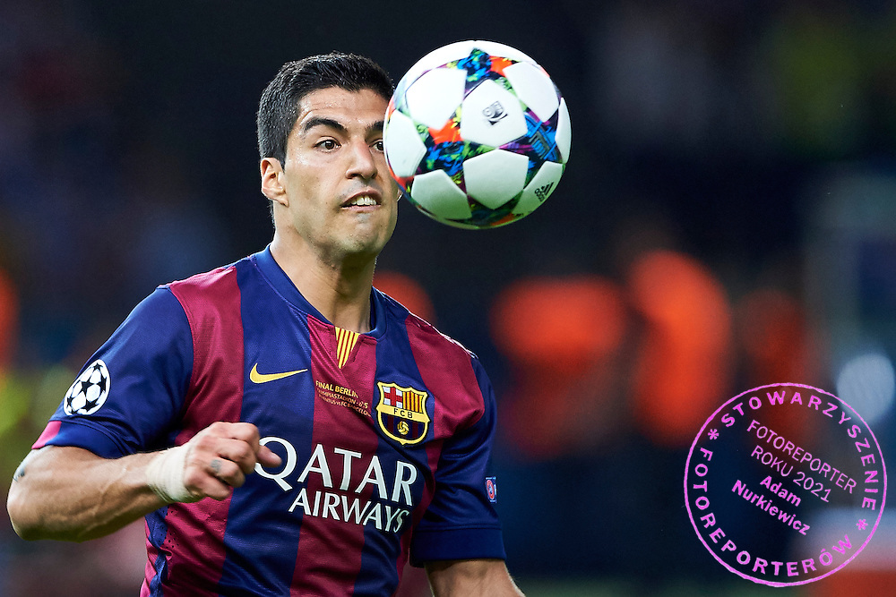 Luis Suarez of FC Barcelona looks at the ball during the 2014/15 UEFA Champions League Final between Juventus and FC Barcelona at Olympiastadion on June 6, 2015 in Berlin, Germany.<br /> Germany, Berlin, June 6, 2015<br /> <br /> Picture also available in RAW (NEF) or TIFF format on special request.<br /> <br /> For editorial use only. Any commercial or promotional use requires permission.<br /> <br /> Adam Nurkiewicz declares that he has no rights to the image of people at the photographs of his authorship.<br /> <br /> Mandatory credit:<br /> Photo by &copy; Adam Nurkiewicz / Mediasport