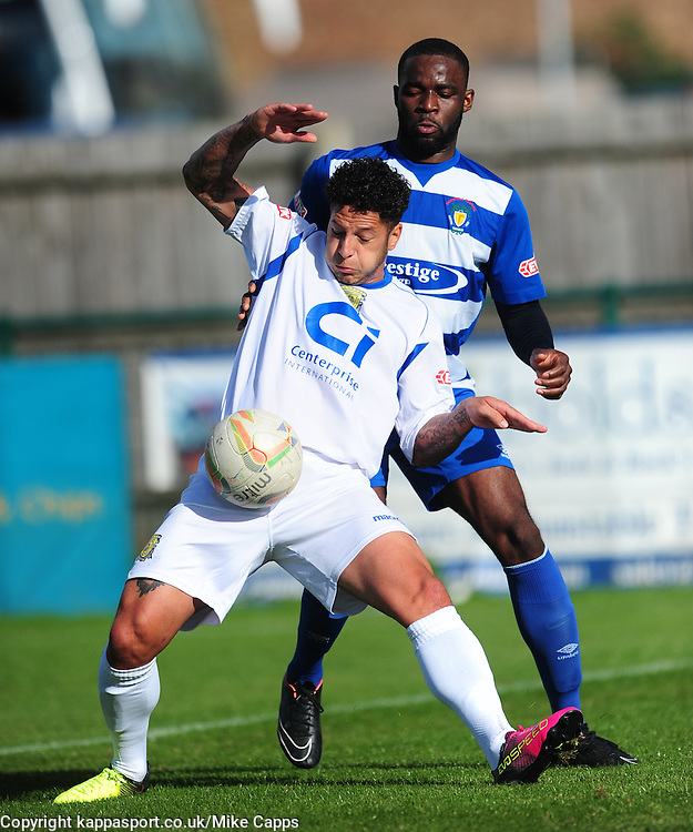 ROMONE ROSE BASINGSTOKE TOWN BATTLES WITH ALEJOHN SONUGA, ROMONE ROSE BASINGSTOKE TOWN, Dunstable Town v Basingstoke Town Evo Stick Southern Premier League, Creasey Park Saturday 1st October 2016, Score 1-3<br /> Photo:Mike Capps