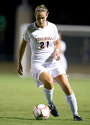Virginia Cavaliers forward Meghan Lenczyk (21) in action against Loyola.  The #6 Virginia Cavaliers defeated the Loyola College Greyhounds 4-0 in a NCAA Women's Soccer game held at Klockner Stadium on the Grounds of the University of Virginia in Charlottesville, VA on August 22, 2008.