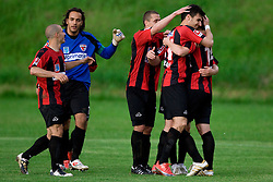 Jaka Ihbeisheh,  Dejan Milic, Luka Skrbina, Alen Coralic and Simon Zivec of Primorje celebrate after Ogric scored a goal in last minute at football match between NK Primorje Ajdovscina and NK Triglav Gorenjska of Second Slovenian football league, on May 16, 2010 in Vipava, Slovenia. Primorje placed first in 2.SNL and qualified for  PrvaLiga in season 2010/2011. (Photo by Urban Urbanc / Sportida)