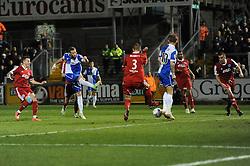 Bristol Rovers' Andy Monkhouse scores a goal. - Photo mandatory by-line: Dougie Allward/JMP - Mobile: 07966 386802 - 20/03/2015 - SPORT - Football - England - Memorial Stadium - Bristol Rovers v Aldershot - Vanarama Football Conference