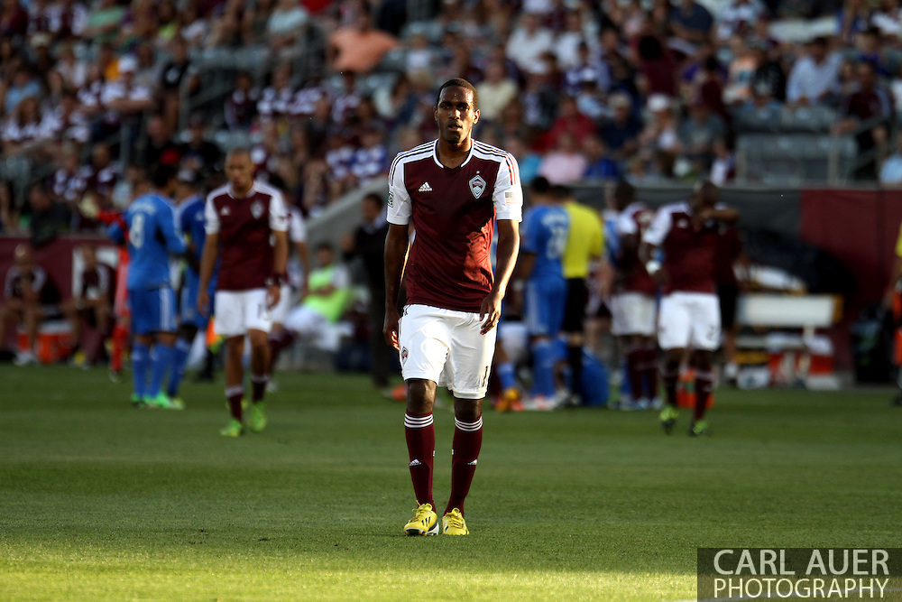 June 15th, 2013 - Colorado Rapids midfielder Atiba Harris (16) walks off the pitch and heads for the locker room after receiving a red card in the first half of the MLS match between San Jose Earthquake and the Colorado Rapids at Dick's Sporting Goods Park in Commerce City, CO