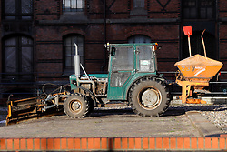 GERMANY HAMBURG 30DEC13 - A tractor snowplough stands in the basking sunshine during a day of warm weather in Hamburg's Hafen City.<br /> <br /> <br /> <br /> jre/Photo by Jiri Rezac<br /> <br /> <br /> <br /> © Jiri Rezac 2013