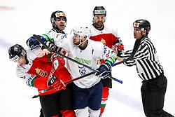 Vilmos Gallo of Hungary vs Robert Sabolic of Slovenia during ice hockey match between Hunngary and Kazakhstan at IIHF World Championship DIV. I Group A Kazakhstan 2019, on May 3, 2019 in Barys Arena, Nur-Sultan, Kazakhstan. Photo by Matic Klansek Velej / Sportida