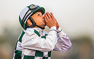 ARCADIA, CA - DECEMBER 30: Mike Smith celebrates a win aboard Daddys Lil darling in the American Oaks at Santa Anita Park on December 30, 2017 in Arcadia, California. (Photo by Alex Evers/Eclipse Sportswire/Getty Images)