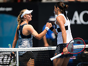 Zoe Hives of Australia and Caroline Garcia of France at the net after their second-round match at the 2019 Australian Open Grand Slam tennis tournament on January 16, 2019 at Melbourne Park in Melbourne, Australia - Photo Rob Prange / Spain ProSportsImages / DPPI / ProSportsImages / DPPI