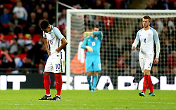 Jesse Lingard of England, Eric Dier of England and Tom Heaton of England look dejected after conceding a late goal to Spain - Mandatory by-line: Robbie Stephenson/JMP - 15/11/2016 - FOOTBALL - Wembley Stadium - London, United Kingdom - England v Spain - International Friendly