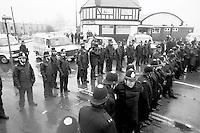 Police outside Hatfield Main Working Mens Club during the 1984 1985  miners strike.