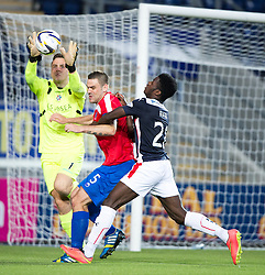 Cowdenbeath's keeper Thomas Flynn, Cowdenbeath's Jon Armstrong and Falkirk's Botti Biabi.<br /> Half time : Falkirk 0 v 0 Cowdenbeath, second round League Cup tie played at The Falkirk Stadium.