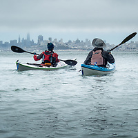 Paddling along the Sausalito shore with San Francisco in the fog