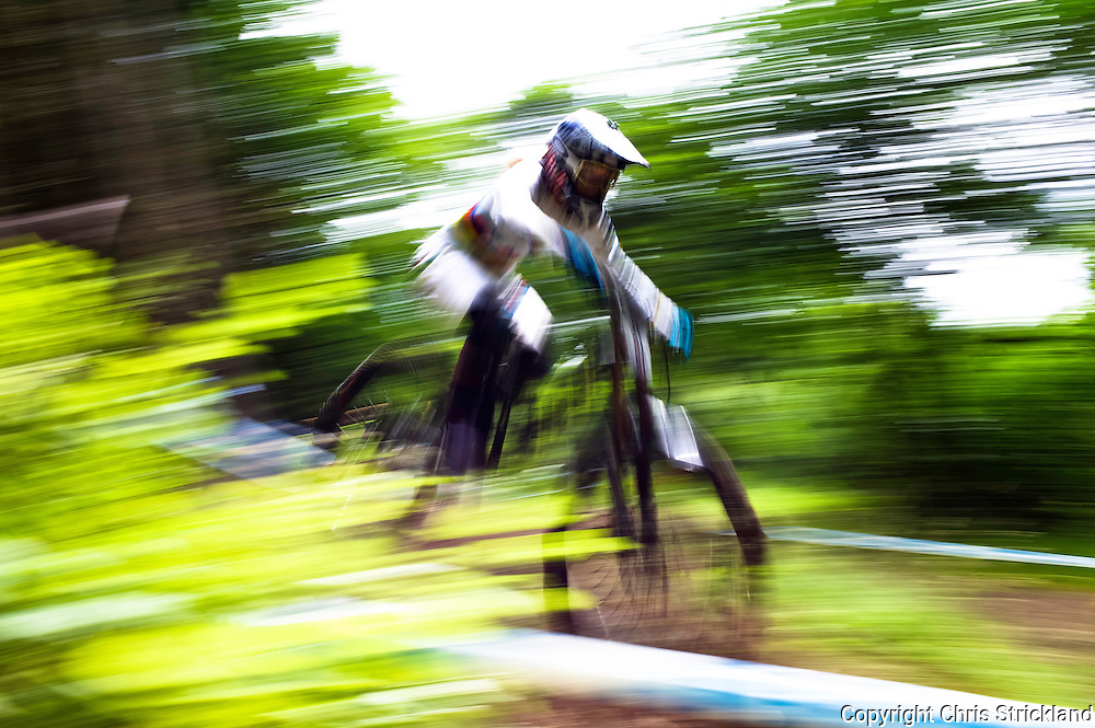 Innerleithen, Scottish Borders, UK, 20th July 2014. The eyes of Downhill World Champion Rachel Atherton exude control as she slices through the Innerleithen course on Sunday's timed runs during the UK National Downhill Championships.
