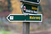 Wanderweg Wegweiser Malerweg, Sächsische Schweiz, Elbsandsteingebirge, Sachsen, Deutschland | hiking track sign, Saechsische Schweiz, Saxon Switzerland, Saxony, Germany