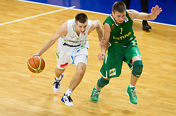 Matej Rojc of Slovenia vs Edgaras Ulanovas of Lithuania during basketball match between National teams of Slovenia and Lithuania in First Round of U20 Men European Championship Slovenia 2012, on July 14, 2012 in Domzale, Slovenia.  (Photo by Vid Ponikvar / Sportida.com)