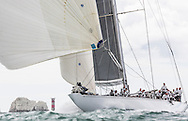 Image licensed to Lloyd Images <br /> The Royal Yacht Squadron Bicentenary Regatta . Pictures of the classic &quot;J Class&quot; yacht Ranger, shown here racing around the Isle of Wight and passing the Needles as part of the 200th anniversary sailing week.<br /> Credit: Lloyd Images