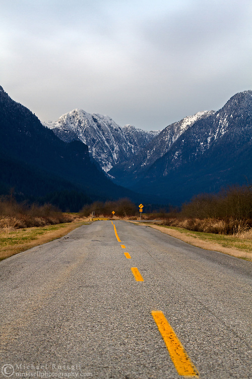 The road to Pitt Lake and Grant Narrows Regional Park in Pitt Meadows, British Columbia, Canada