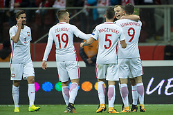 October 8, 2017 - Warsaw, Poland - The polish players celebrate after Kamil Grosicki goal during the FIFA World Cup 2018 Qualifying Round Group E match between Poland and Montenegro at National Stadium in Warsaw, Poland on October 8, 2017  (Credit Image: © Andrew Surma/NurPhoto via ZUMA Press)