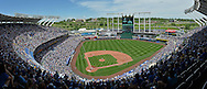 May 17, 2015; Kansas City, MO, USA; A general view of Kauffman Stadium during a game between the Kansas City Royals and the New York Yankees at Kauffman Stadium. Mandatory Credit: Peter G. Aiken-USA TODAY Sports