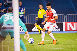 Alex Oxlade-Chamberlain #15 of Arsenal F.C. vs Eduardo Carvalho #24 of GNK Dinamo Zagreb during football match between GNK Dinamo Zagreb, CRO and Arsenal FC, ENG in Group F of Group Stage of UEFA Champions League 2015/16, on September 16, 2015 in Stadium Maksimir, Zagreb, Croatia. Photo by Ziga Zupan / Sportida