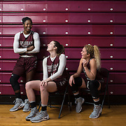 December 16, 2016 - New York, NY : From left, Fordham University Women's Basketball team seniors Danielle Burns (22), Danielle Padovano (14), and Hannah Missry (25) pose for a portrait after practice in the Rose Hill Gymnasium on Friday afternoon. CREDIT: Karsten Moran for The New York Times