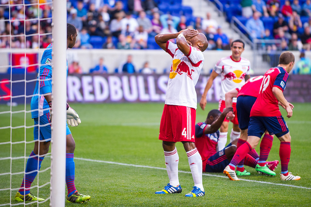 HARRISON, NJ - MAY 10: Jamison Olave #4 of New York Red Bulls looks on during the match against the Chicago Fire at Red Bulls Arena on May 10, 2014. (Photo By: Rob Tringali) Jamison Olave