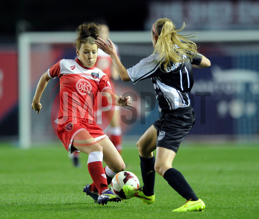 Bristol Academy Womens' Angharad James is tackled by Raheny United's Siobhan Killeen - Photo mandatory by-line: Dougie Allward/JMP - Mobile: 07966 386802 - 16/10/2014 - SPORT - Football - Bristol - Ashton Gate - Bristol Academy v Raheny United - Women's Champions League