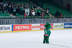 Official mascot of HDD Tilia Olimpija dragon Hoki greets fans during ice-hockey match between HDD Tilia Olimpija and EHC Liwest Black Wings Linz in 37th Round of EBEL league, on Januar 9, 2011 at Hala Tivoli, Ljubljana, Slovenia. (Photo By Matic Klansek Velej / Sportida.com)