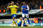 Leeds United midfielder Kemar Roofe (7) slips on the turf and puts the penalty high over the bar during the EFL Sky Bet Championship match between Ipswich Town and Leeds United at Portman Road, Ipswich, England on 5 May 2019.