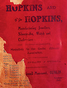 All Ireland Senior Hurling Championship Final,.02.11.1913, 11.02.1913, 2nd November 1913,.Tipperary 1-2,, Kilkenny 2-4,.Senior Tipperary v Kilkenny, .Jones's Road Dublin, ..Advertisements, Hopkins and Hopkins Manufaturing Jewellers Silversmiths Watch and Clockmakers,<br />