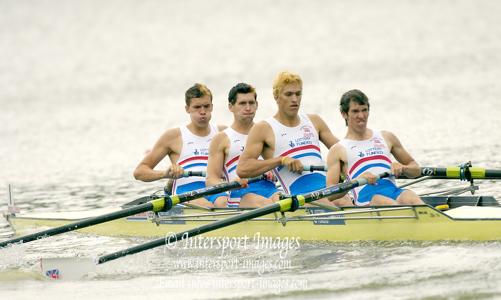 2006, FISA Juniors, Bosbaan, Amsterdam, THE NETHERLANDS, Wed, 02.08.2006,  GBR JM4+, Bow calum WHITE, Nicholas BAKER, Benedict TUFNEL, Peter STUART, cox Patrick VICKERS, Peter Spurrier/Intersport Images.email images@intersport-images.com...[Mandatory Credit Peter Spurrier/ Intersport Images] Rowing Course: Bosbaan Rowing Course, Amsterdam, NETHERLANDS