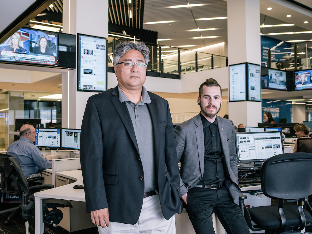 Shailesh Prakash, CIO & VP, digital product development and Joey Marburger, director of product at The Washington Post in the Post's new offices in Washington, D.C. on Sept. 12, 2016.
