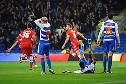Cardiff City's Ben Turner celebrates as Reading's Alex Pearce scores an own goal - Photo mandatory by-line: Dougie Allward/JMP - Mobile: 07966 386802 - 21/11/2014 - Sport - Football - Cardiff - Cardiff City Stadium - Cardiff City v Reading - Sky Bet Championship