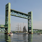 Gazela passes under the Sarah Mildred Long Bridge, Portsmouth, NH