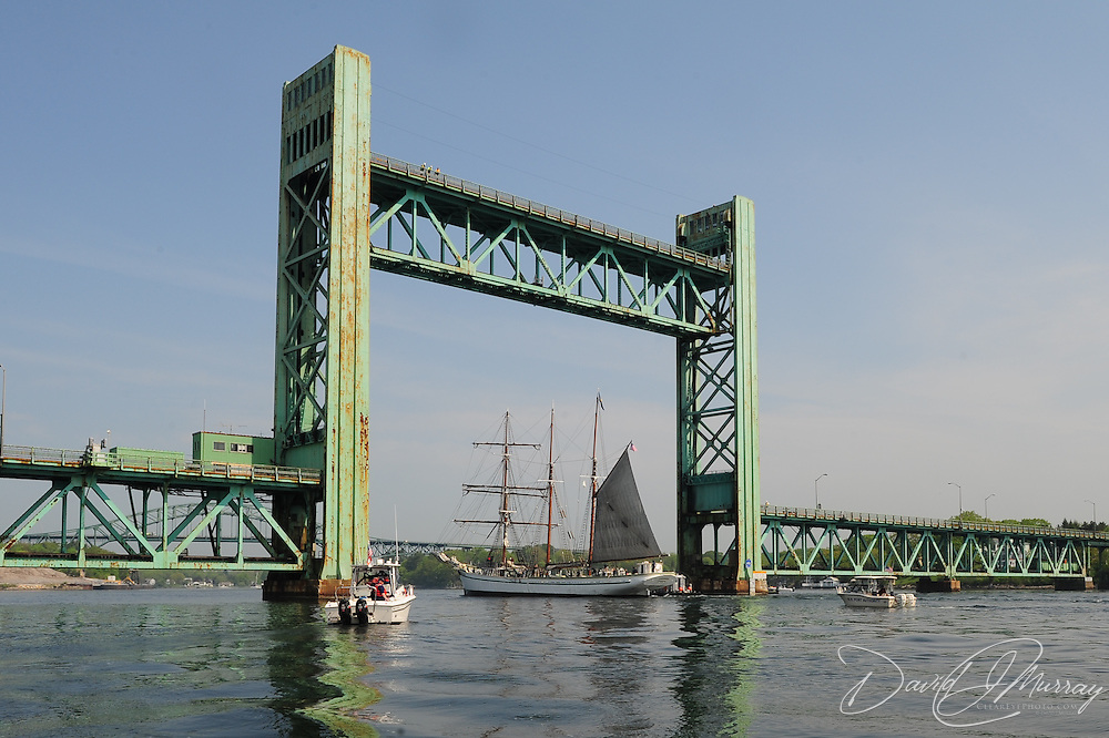 Gazela passes under the Sarah Mildred Long Bridge, Portsmouth, NH