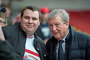 Crystal Palace Manager Roy Hodgson stops for a photo with a Doncaster Rovers fan during the The FA Cup 5th round match between Doncaster Rovers and Crystal Palace at the Keepmoat Stadium, Doncaster, England on 17 February 2019.