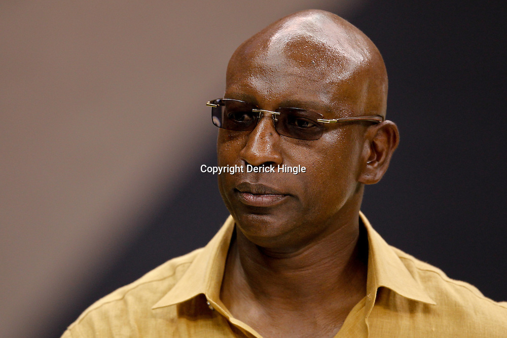 September 9, 2010; New Orleans, LA, USA; Hall of Fame running back Eric Dickerson on the field prior to kickoff of the NFL Kickoff season opener at the Louisiana Superdome. The New Orleans Saints defeated the Minnesota Vikings 14-9.  Mandatory Credit: Derick E. Hingle