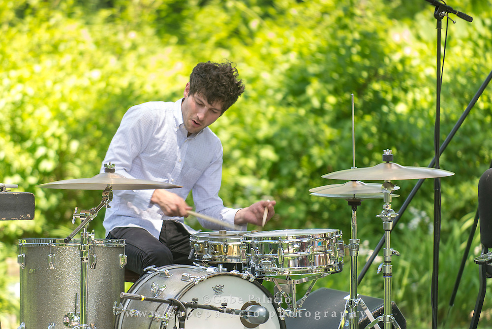 Opening performance by Eli Keszler and ensemble with his Catenary installation for In the Garden of Sonic Delights  at Caramoor in Katonah New York on June 7, 2014. <br /> (photo by Gabe Palacio)