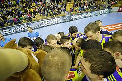 Players of RK Celje Pivovarna Lasko after handball match between RK Celje Pivovarna Lasko (SLO) and Besiktas J.K. (TUR)  in 14th Round of EHF Men's Champions League 2015/16, on March 5, 2016 in Arena Zlatorog, Celje, Slovenia. (Photo by Ziga Zupan / Sportida)
