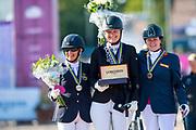 Podium Grade IV 1. Susanne Jensby Sunesen - CSK's Que Faire, 2. Louise Etzner Jakobsson - Zernard, 3. Sanne Voets - Demantur<br /> FEI European Championships Gothenburg 2017<br /> © DigiShots